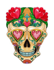 Art Sugar Skull color Tattoo. Hand watercolor painting on paper.