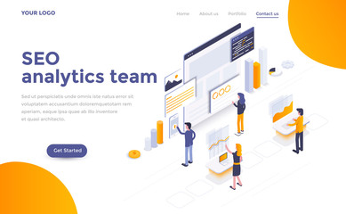 Flat color Modern Isometric Concept Illustration - Seo analytics team