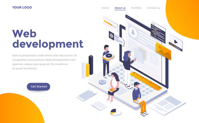 Flat color Modern Isometric Concept Illustration - Web Development