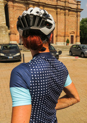 Woman Cyclist Cycling Kit Helmet Cycle Touring italy
