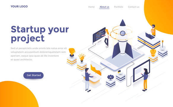 Flat color Modern Isometric Concept Illustration - Startup your project