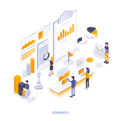 Flat color Modern Isometric Illustration design - Strategy