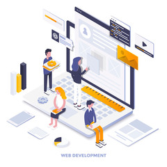 Flat color Modern Isometric Illustration design - Web Deveopment