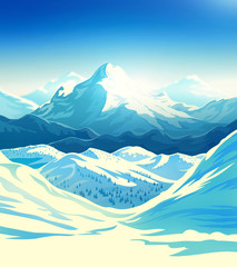 Winter mountain landscape with steep slopes along the edges. Raster illustration.
