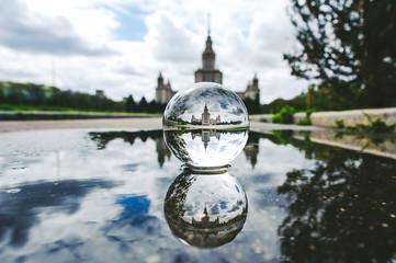 Lomonosov Moscow State University (MSU) through glass ball