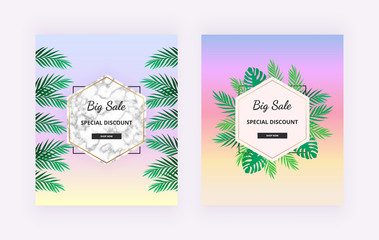 Summer sale banners with tropical jungle, rainforest, green leaf and marble texture on the bright colors backgrounds. Template for design card, flyer, invitation, party, placard, poster, social media
