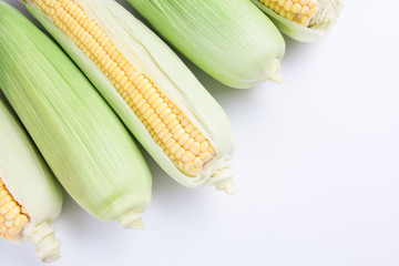 Sweet fresh corn, top view