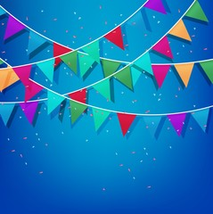 Festive background with Colorful Party Flags with Confetti