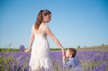 cute little boy kissing mother hand among lavender flower fields in summer