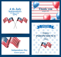 Happy Independence day american flag Vector cards. 4th of july postcard set