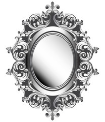 Baroque silver mirror frame. Vector French Luxury rich intricate ornaments. Victorian Royal Style decors