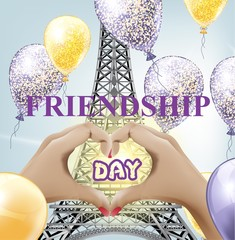 Friendship day Eiffel tower love Paris Vector