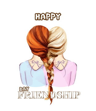 Happy Friendship day card Vector. Two girls united by hair braiding