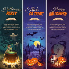 Halloween banners with text and characters - pumpkins, bats, ghosts and Skeletons on the night background.