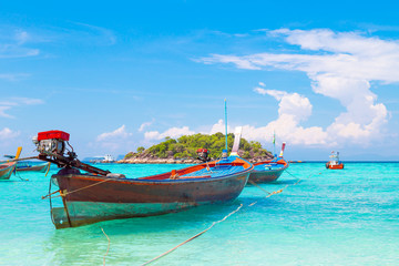 Long tail boat on the beach: Koh Lipe, Satun, Thailand