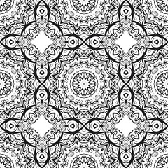 seamless lace floral background. Texture for wallpaper, invitation. Vector illustration. Monochrome color.