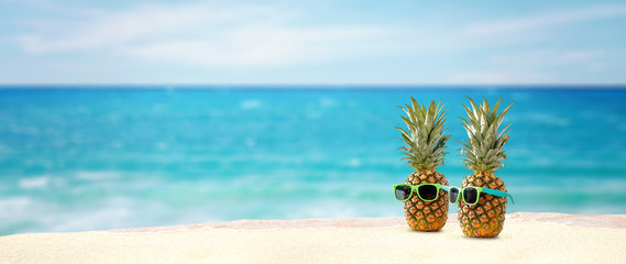 pineapple and beach space