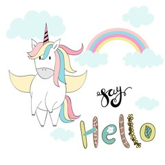 Magic cute unicorn. Vector hand drawn greeting card.