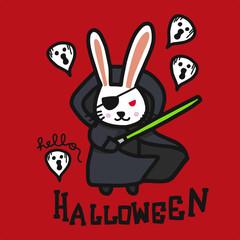 Dark rabbit and laser blade and ghosts Hello Halloween cartoon doodle vector illustration