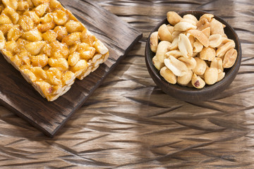 Honey bars with peanuts - Top view
