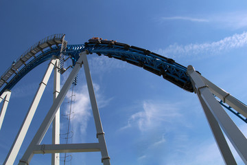 High roller coaster for a ride on blue sky