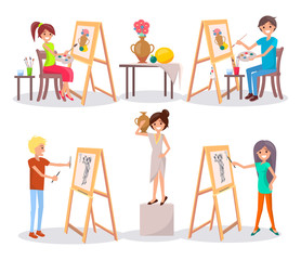 Students Draw and Paint Isolated Illustration