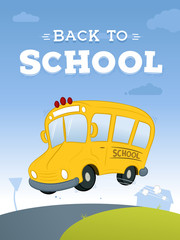 Yellow school bus on the road with back to school text in the sky vector cartoon illustration
