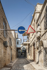baku city old town street in azerbaijan