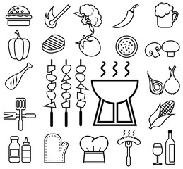 barbecue icon set line