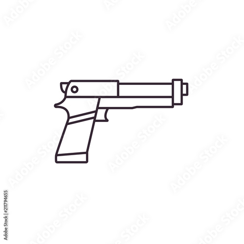 Gun Flat Line Icon On Isolated Background Toy Handgun Or Pistol