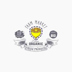 Lemon word on background illustration. Fruit web element, Isolated Vector.
