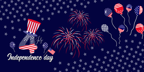 horizontal banner of 4th of July celebration
