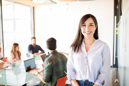 Beautiful woman in meeting room