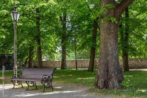 Marvelous Old Lantern And Bench In Medieval Tallinn Stock Photo And Machost Co Dining Chair Design Ideas Machostcouk