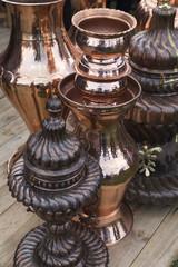 copper kitchenware in the shop.copper materials concept.