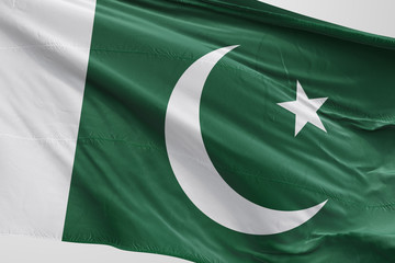 Isolated Pakistani Flag waving 3d Realistic Pakistani fabric