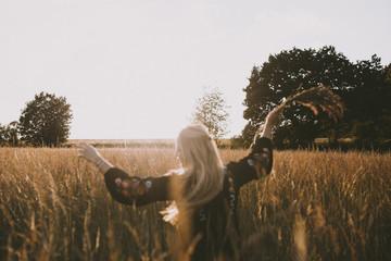 Happy girl in the fields