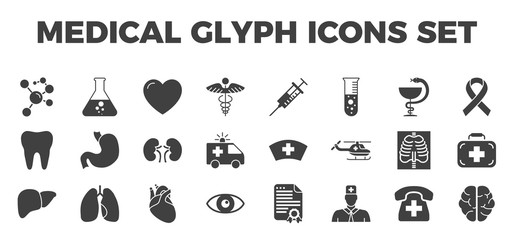 Medical Vector Icons Set. Glyph Related Icons, Sign and Symbols in Flat Design Medicine and Health Care with Elements for Mobile Concepts and Web Apps. Collection Infographic Logo and Pictogram