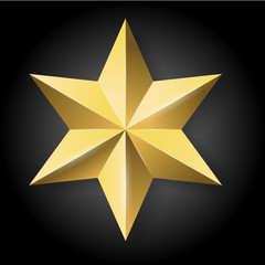 vector realistic golden star on black background