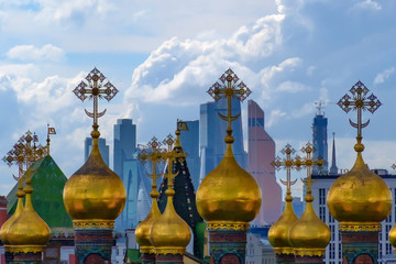 Landscape with view on domes of the cathedrals of the Moscow Kremlin.