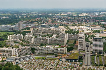 Munich, Germany June 09, 2018: Munich city from above. Panorama of the city of Munich. High angle view over Munich.