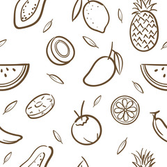 Sketch of mix tropical fruits seamless pattern background vector format in hand drawing cartoon style