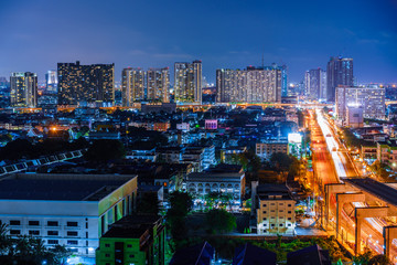 Night Cityscape of bangkok thailand