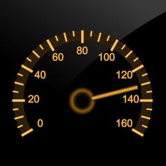 Illuminated car speedometer - night dashboard