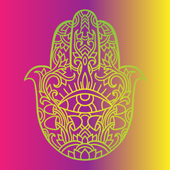 Hamsa symbol. Fatima hand pattern. Indian mandala ornament. Asian authentic vector illustration. Third eye.