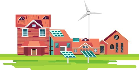 Eco-friendly houses red colors flat design style vector illustration cityscape with, windmills, solar panels, on green fields
