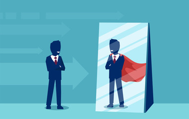 Vector of a motivated business man facing himself as a super hero in the mirror.