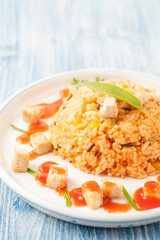 Delicious Risotto with Vegetable and fried tofu