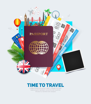 Banner concept for travel and tourism with passport, tickets and famous landmarks in flat style.