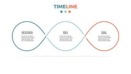 Business infographics. Timeline with 3 steps, options, loops. Vector template. Fototapete